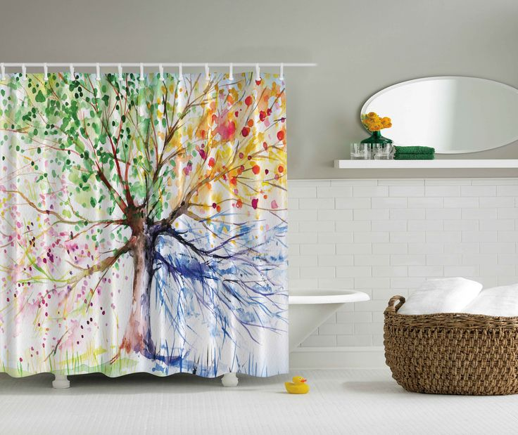 ambesonne nature decor collection colorful four seasons tree painting artwork print polyester fabric bathroom bathroom shower