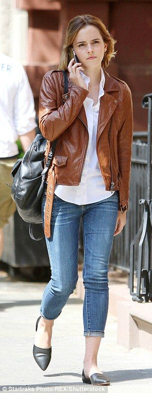Going hell for leather! Clad in a tan leather jacket, the 26-year-old actress looked effortlessly chic on the outing as she strolled through the streets whilst her slim pins were slipped into a pair of cropped skinny jeans