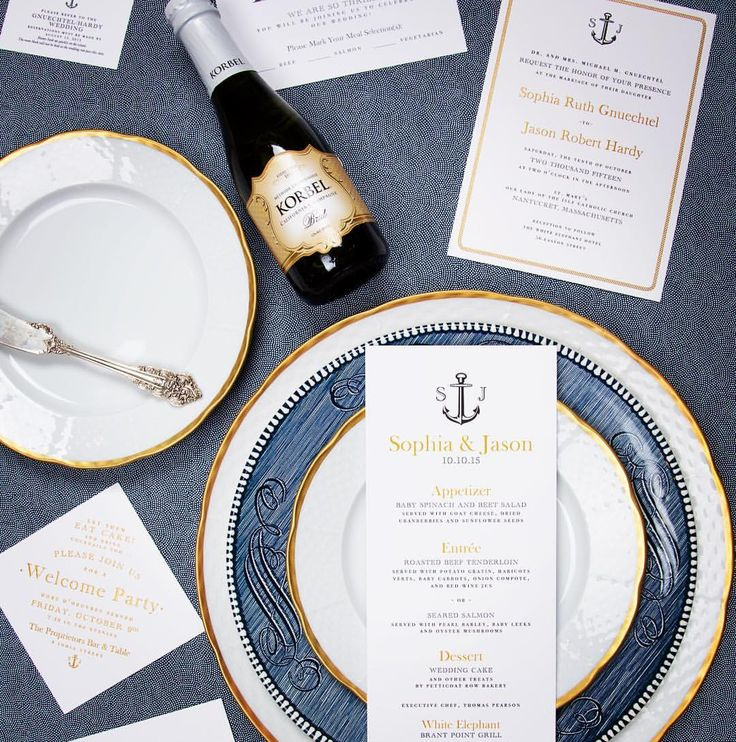 "Abigail Christine Barnett on Instagram: ""Bon Appetit!!! We love our Nantucket wedding couples! We coordinated everything to carry the couples custom wedding logo with this suite. #acdweddings #abigailcdesign #abigailchristinedesign #weddinginvitation #weddings #weddingday #weddingdayof #weddinglogo #placesetting #nantucket #nantucketwedding #sashanicholas #soireefloral"""