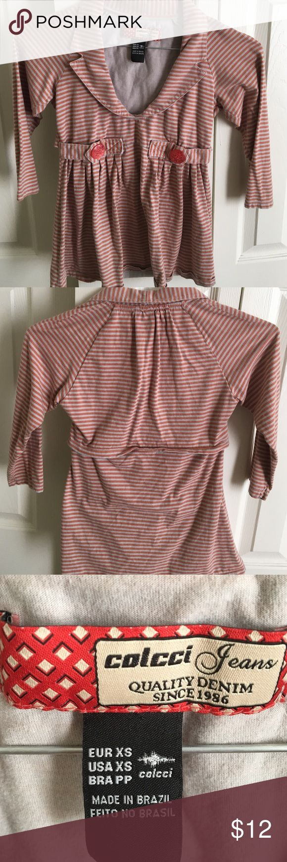 XS Colcci top. Pink and gray striped XS top by colcci jeans.  Super cute 3/4 length sleeves. colcci Tops Blouses
