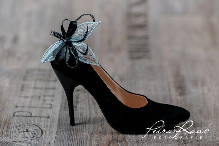 Schuhclips - Schuhclips - 2 Clips, mint,schwarz,Federn SC7 - ein Designerstück von Perle-Wismer bei DaWanda