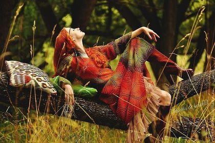 """My friend!!! Платья ручной работы. Ярмарка Мастеров - ручная работа Платье """"Индейское бабье лето"""" авторское спицами из овечьей шерсти. Handmade."""