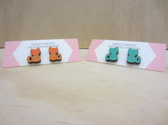 Hand painted Wooden Earrings  4 choices by ImodFashion on Etsy