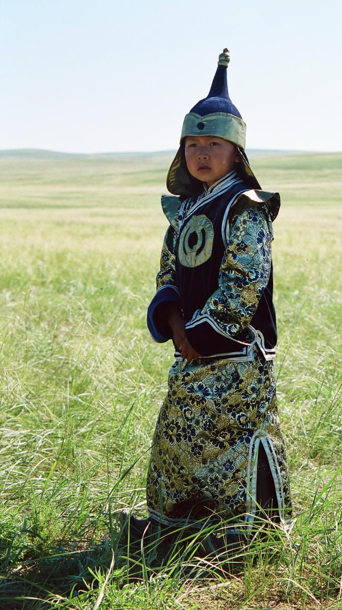 The boy in national costume from Tuva, Siberia, Russia