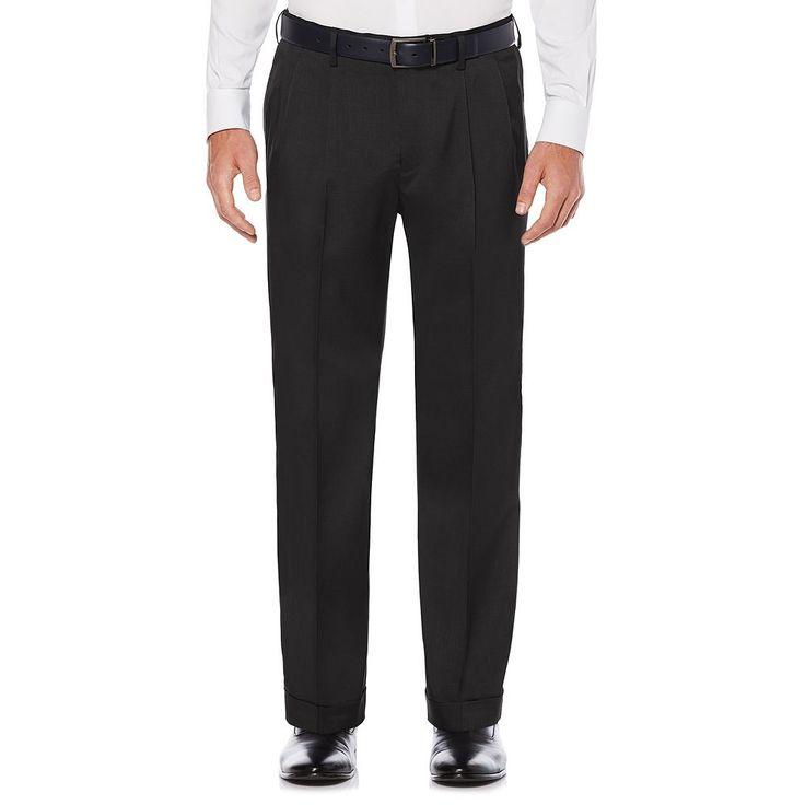 Men's Savane Straight-Fit Stretch Crosshatch Pleated Dress Pants, Size: 42X29, Grey (Charcoal)