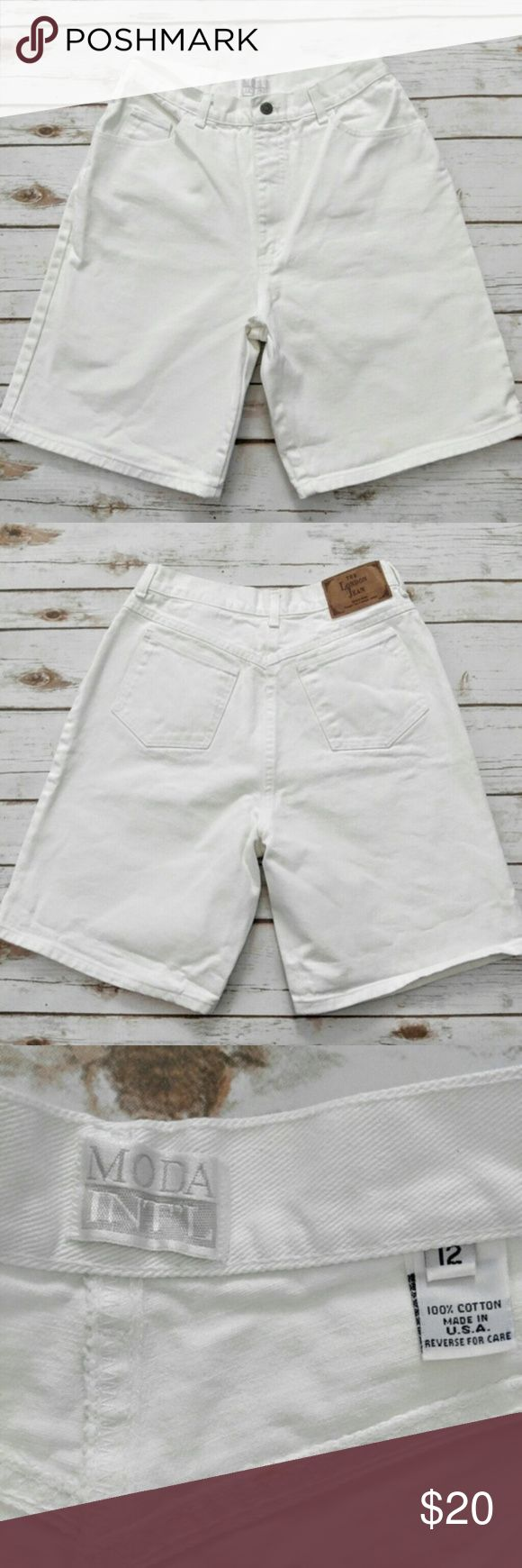 Moda International Vintage London Jean Moda International Vintage London Jean  High Waisted Shorts Perfect crisp white size 12 vintage high waisted shorts. See last photo for measurements. Please let me know if you have any questions. I ship the same day as long as the post office is still open. Have a great day, thanks for checking out my closet and happy poshing! Moda International Shorts Jean Shorts