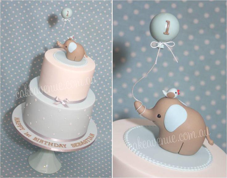 Baby Elephant Cake - blue