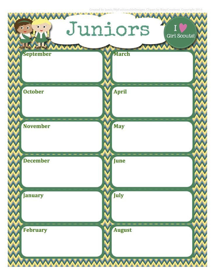 Girl scouts free juniors calendar editable word format for Girl scout calendar template
