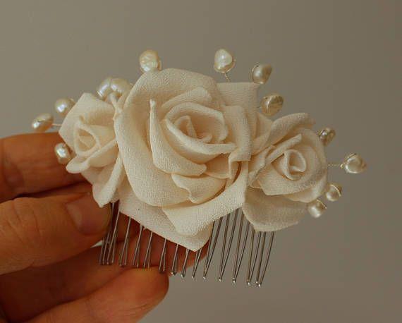 Cream Rose Hair Comb,Rose Pearls Bridal Hair Comb,Wedding Hair Comb,bridesmaid girl woman Flower Hair Comb,Brida HairPiece,bridal fascinator