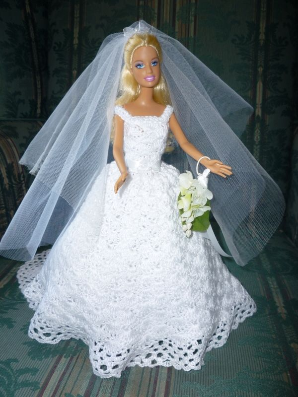 395 best barbie wedding dress images on pinterest barbie for Crochet wedding dress pattern