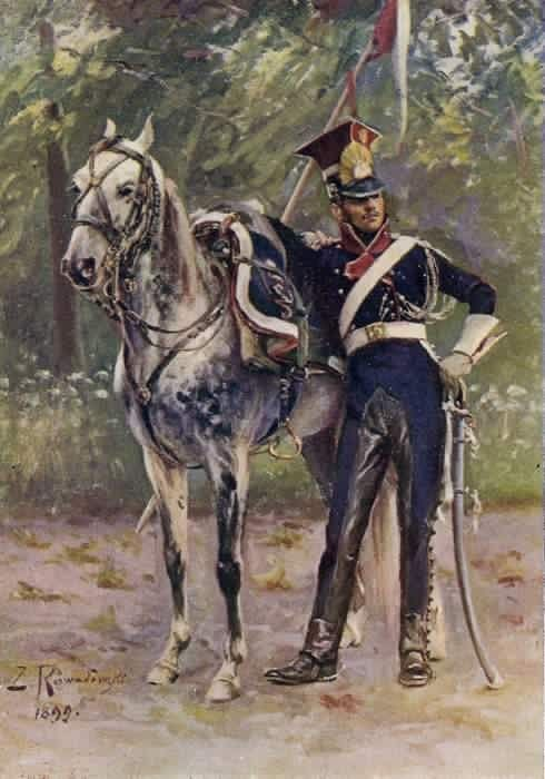 Polish Lancer of the Guard. Many of the lancers probably wore oilskin covers for their fantastic czapskas. Note the leather covering for the inside of his overalls, to prevent wear on the pants while in the saddle.