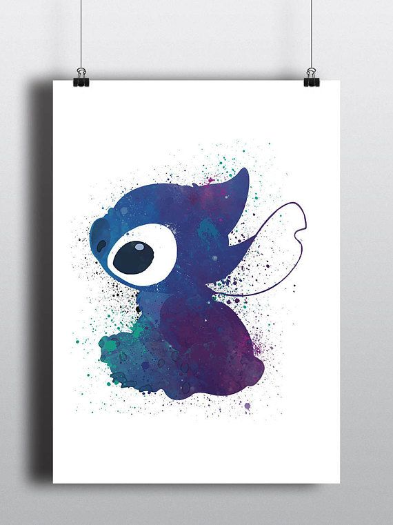 Lilo and Stitch Poster Print - Stitch   Watercolour   Disney Pixar   A2 Size-Resizable   Printable   Digital Download   Minimalist