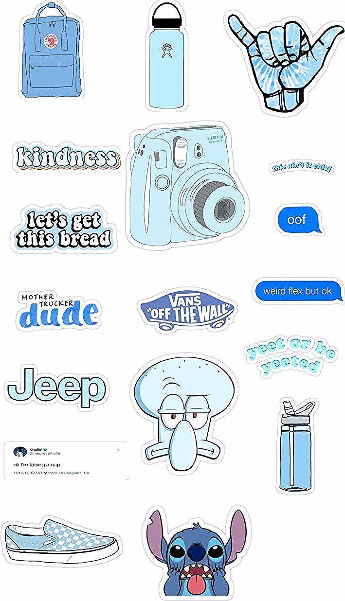 Blue Aesthetic Stickers Blue Aesthetic Stickers In 2020 Aesthetic Stickers Blue Aesthetic Sticker Art