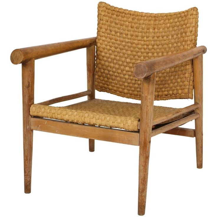 Straw Wicker Woven Rush Chair Mid Century Attr. Jean Michel Frank, 1930 France | From a unique collection of antique and modern chairs at https://www.1stdibs.com/furniture/seating/chairs/