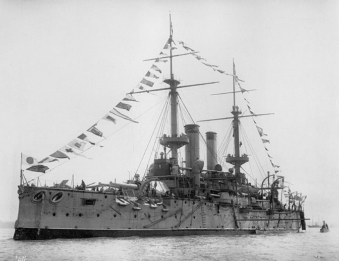 Fuji was Japan's first pre-dreadnought battleship, ordered 1893, completed 1897. Built at Thames Iron Works, Blackwall (London)