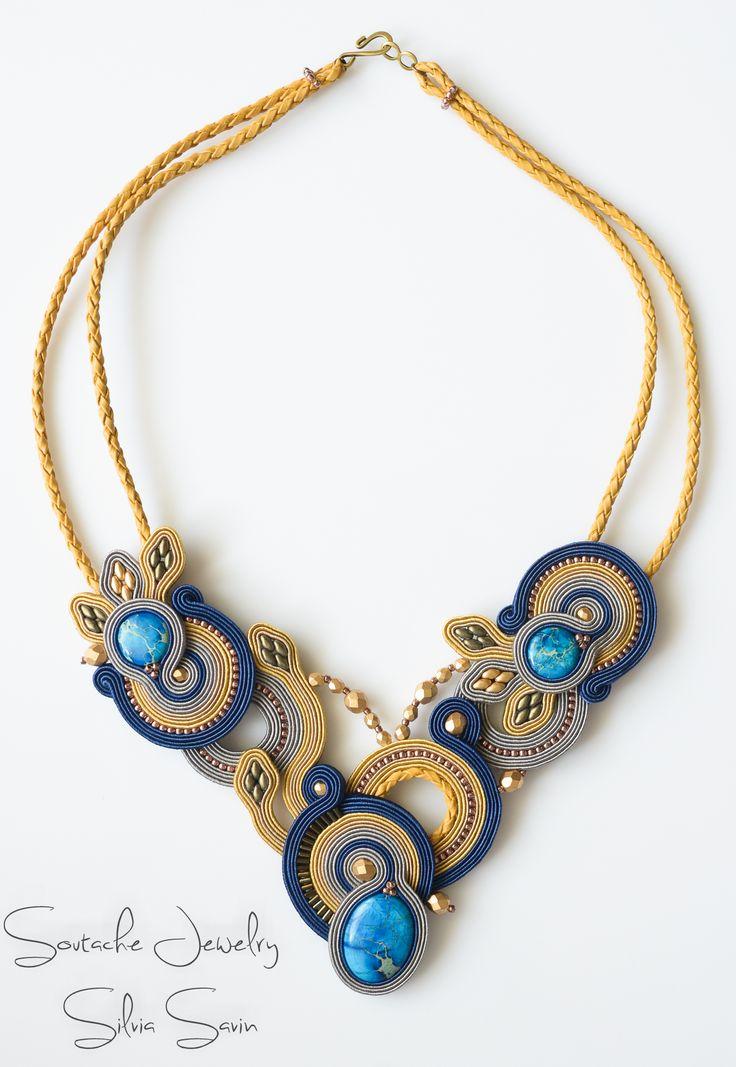 Blue / Mustard / Beige / Grey Handmade Soutache necklace