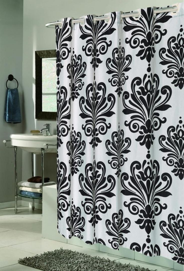 Long patterned curtains - Bathroom Unique Shower Curtains Beauty Long With Black Novelty Shower Curtains And White Theme Floral Crown