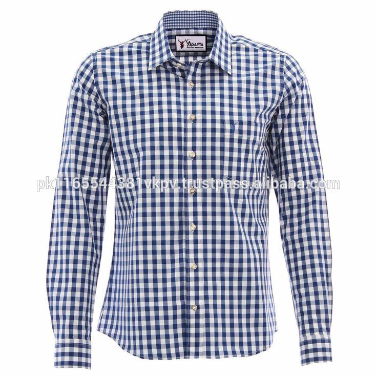 German men's Trachten Shirt Kinder trachten hemd Bavarian Shirts BLUE CHECKERED