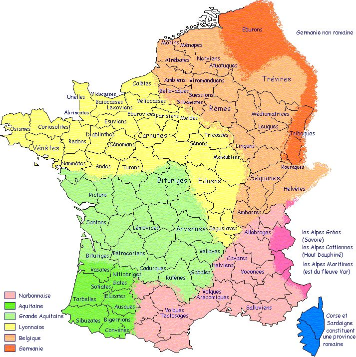 Carte de la Gaule & peuples gaulois LEXILOGOS >>