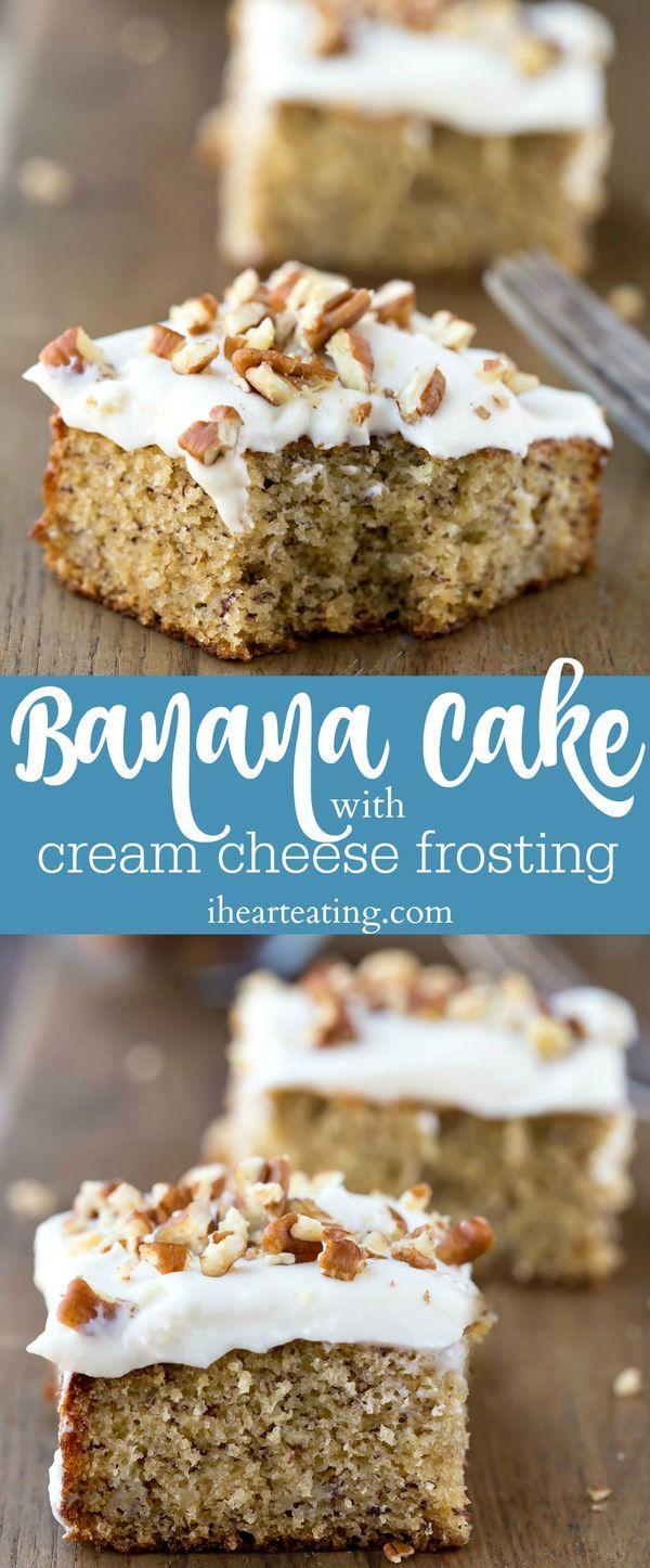 Banana Cake with Cream Cheese Frosting Recipe - moist banana cake topped with rich cream cheese frosting. Great idea to use ripe bananas.