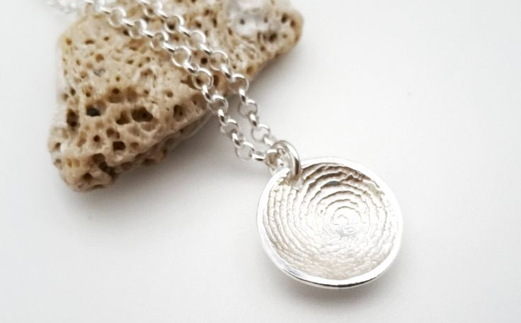 Sterling Silver Fingerprint Dome Necklace by RebeccaGeoffrey on Etsy