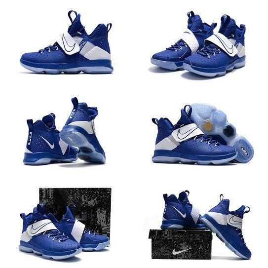 New LeBron 14 XIV Royal Hyper Cobalt Metallic Silver Basketball Shoes 2017