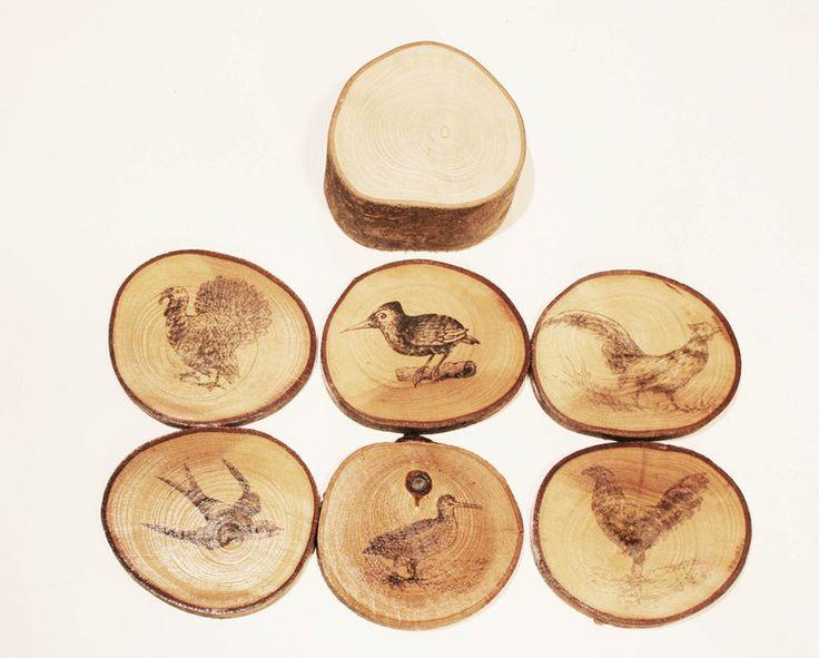 set 6 sottobicchieri in fettine di legno  di pap aia meccanica su DaWanda.com