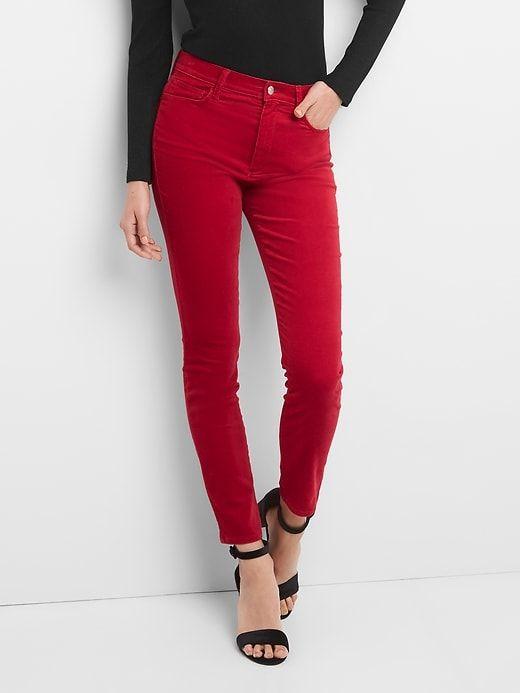 Gap Womens Velvet True Skinny Ankle Pants Cinnabar Red In
