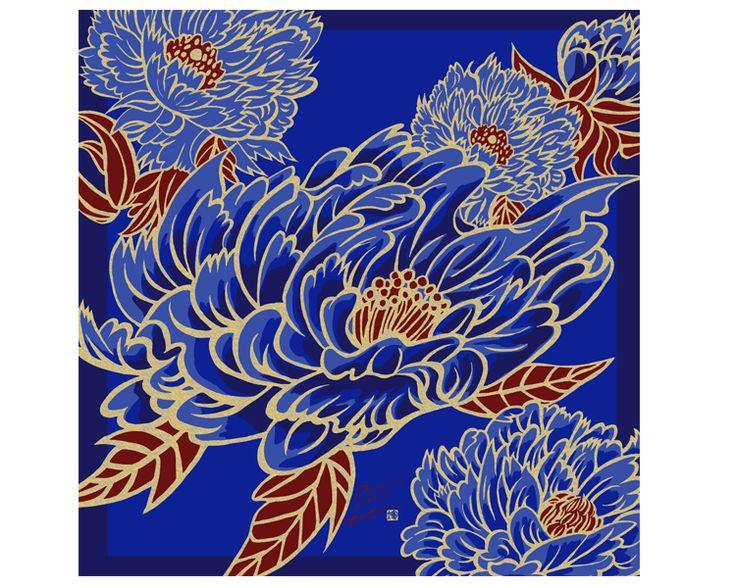 Japanese Furoshiki cloth -Dancing Peony Blue