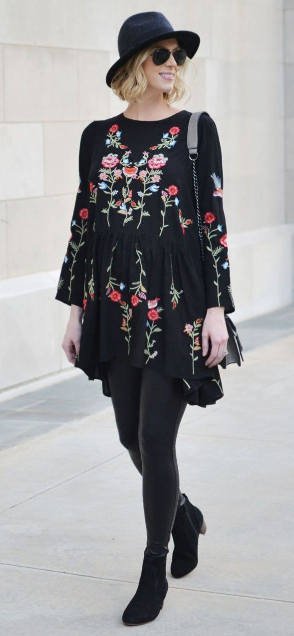EXTRA 25%OFF!!! BLACK FRIDAY SUPER SALE! Up to 80% OFF! Take me away! Reddish-pink flowers top this brooding black as night dress, making it perfect for day to evening wear. Floral Paradise Embroidered Dress featured by straightastyleblog