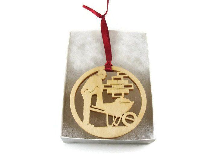 BRICK LAYER MASONRY CONSTRUCTION WORKER CHRISTMAS ORNAMENT HANDMADE FROM BIRCH WOOD BY KEVSKRAFTS