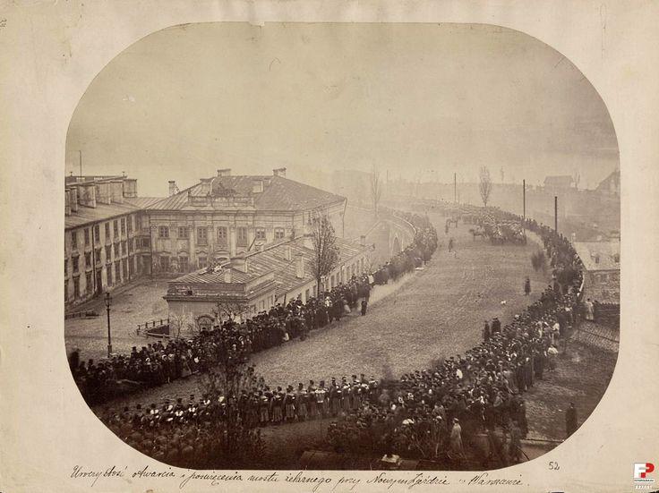 Uroczystość otwarcia i poświęcenia mostu żelaznego przy Nowym Zjeździe 22 listopada 1864 r.