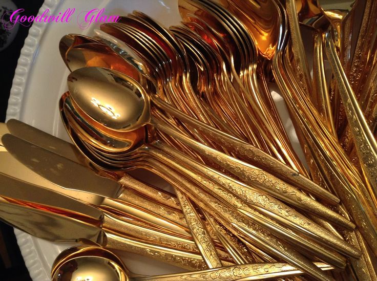 Shiny Gold Plastic Cutlery Gold | The Thrift Store With the Midas Touch