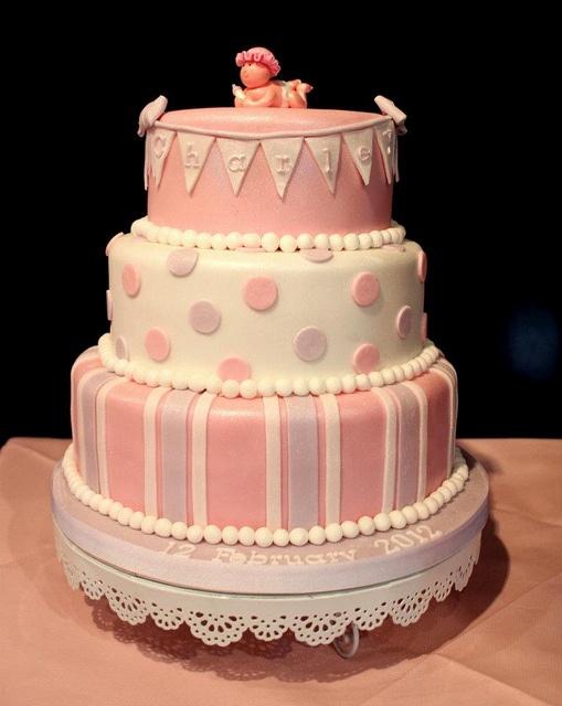 14. Three Tier Girls Christening Cake   Flickr - Photo Sharing!
