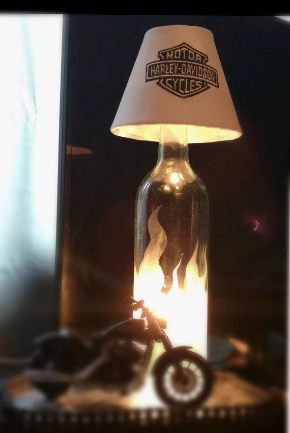 Harley Davidson Bottle Lamp with Embroidered by NathalieTreasures