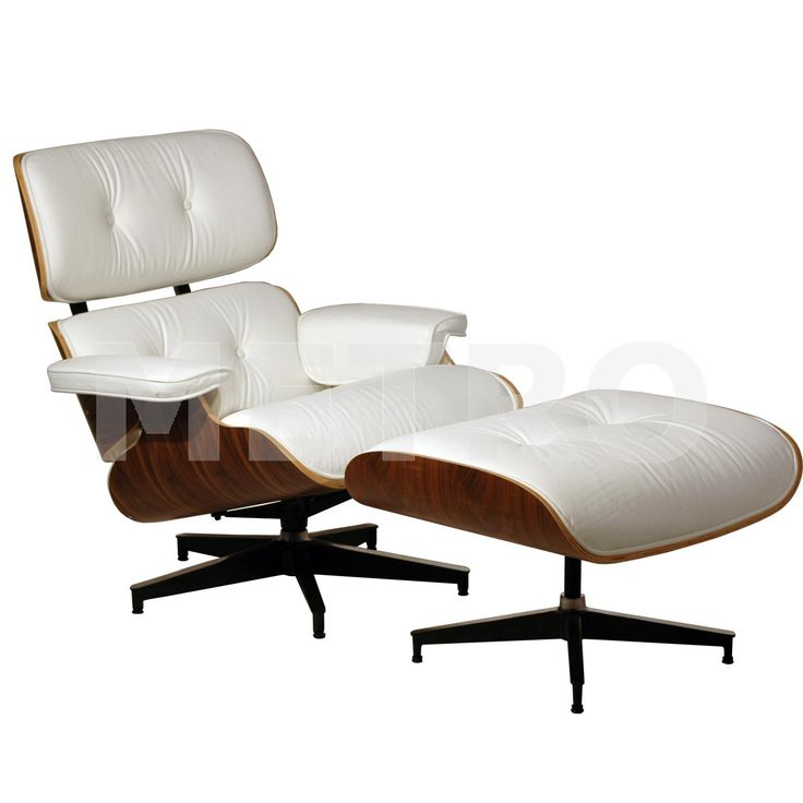 eames lounge chair | 45 degree view of eames lounge chair and ottoman in  white leather