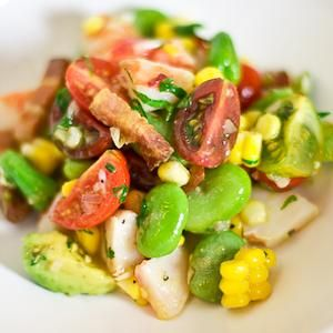 Shrimp Salad w/Fava Beans, Corn, Avocado, Heirloom Tomatoes and Smoked ...