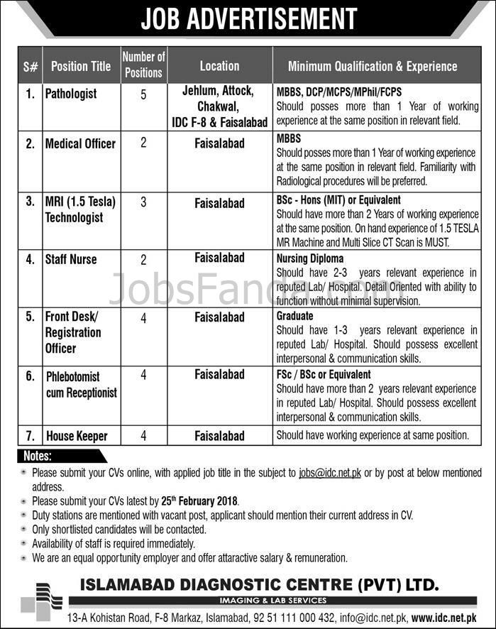 Islamabad Diagnostic Centre Jobs  In Faisalabad For Medical