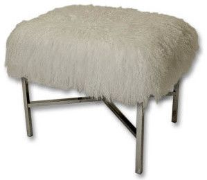 Mongolian Fur X-Bench - contemporary - ottomans and cubes - Sally Wheat Interiors  $775  20x 16x19