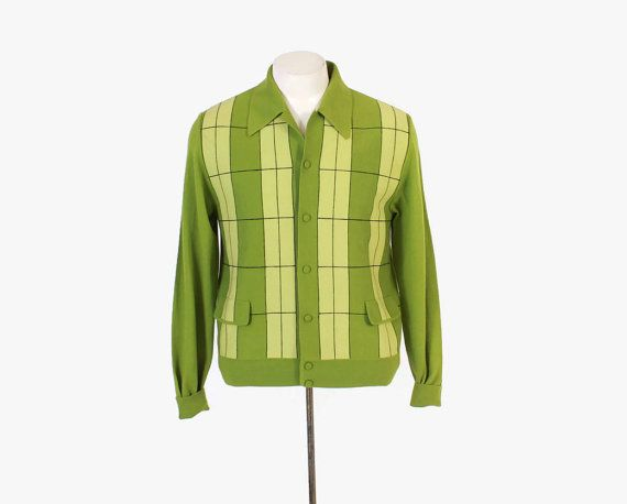 Vintage 60s Men's CARDIGAN / 1960s Bright Green Plaid Panel Front Lightweight Wool Knit Sweater M #vintage #60s #menswear