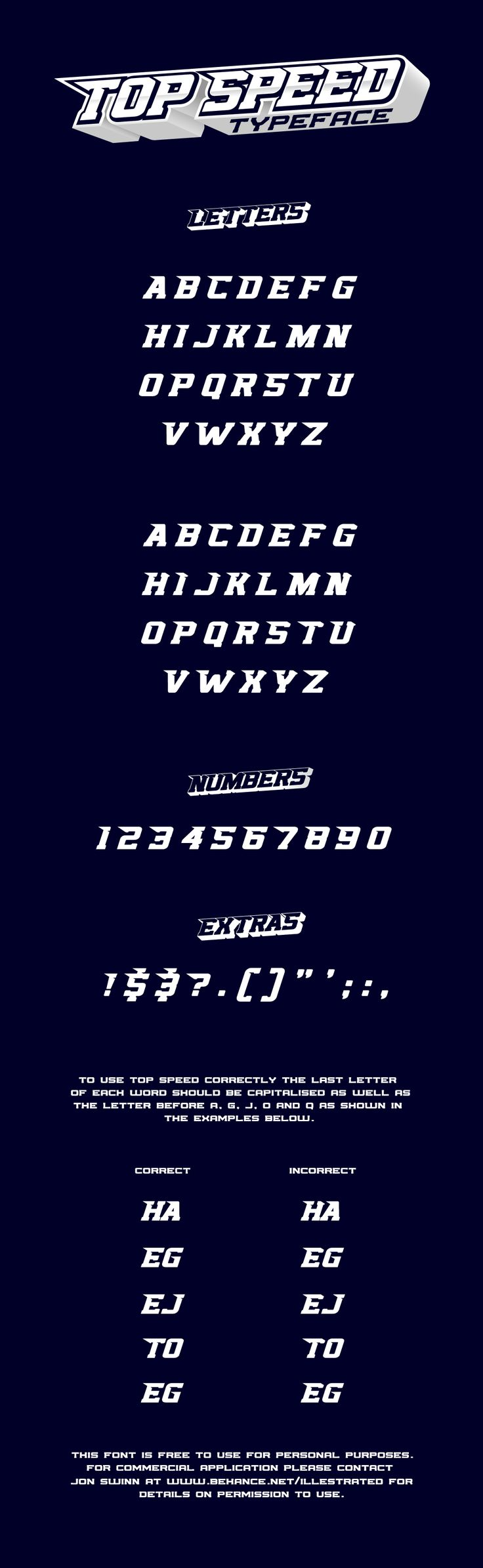Topspeed free font is a sports themed display typeface