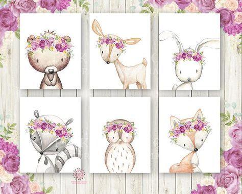 Bunny Bear Deer Fox Wald Boho böhmischen lila Creme erröten gelbe Blumen Kinderzimmer Baby Girl Room Set von 6 Drucke druckbare Print Wall Art Home Decor