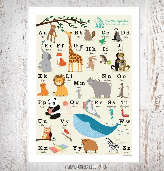 Drucke & Plakate - ABC Tieralphabet Poster, DIN B2, 50 x 70 cm - ein Designerstück von fiftyfour-media-illustration bei DaWanda