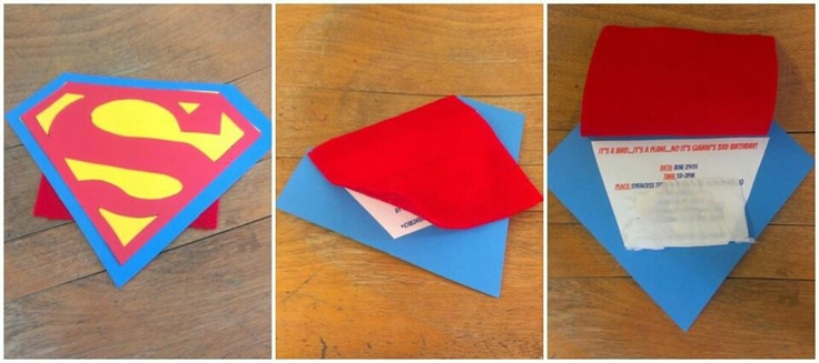 Made by Connie Q...homemade Superman invitations
