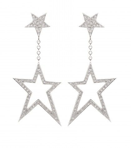 Cada 18kt White gold Asymmetric Star earrings with white diamonds