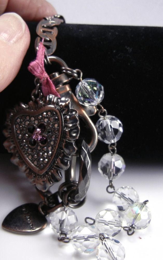 b342195551a6 Betsey Johnson Ornate Crystal Balls   Heart Bracelet Copper  BetseyJohnson   Charm