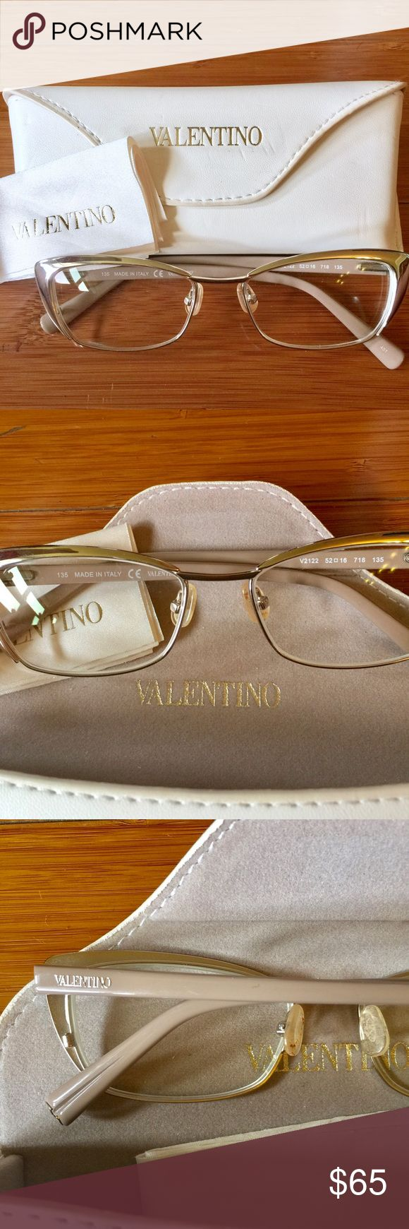 Valentino prescription eyeglasses Valentino prescription eyeglasses. I am not sure what the prescription is but they can be fitted with any lenses. Beautiful hardly worn excellent condition. Comes with case and cleaning cloth. The case has a couple marks on it but totally clean in good condition. Valentino Accessories Glasses
