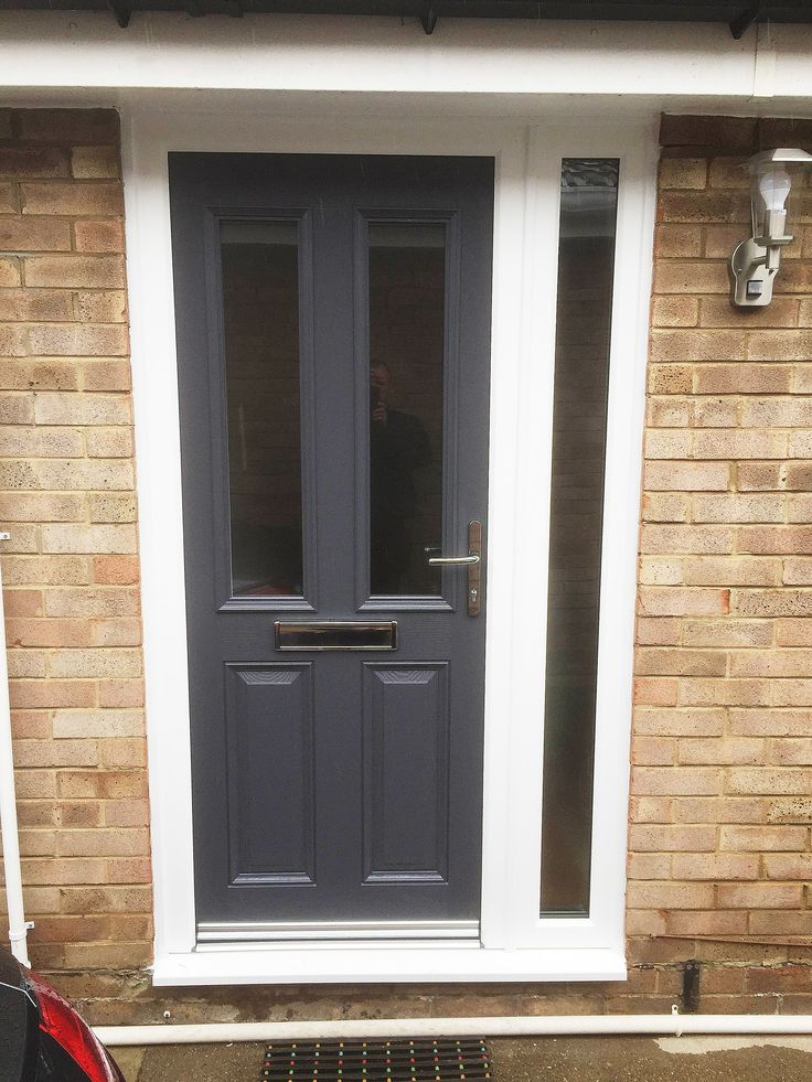 Altmore Composite Door Design With Simple Clear Glass In A Modern Anthracite Grey