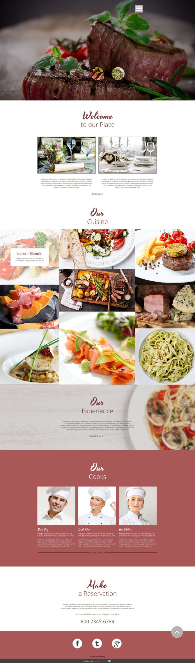 Cafe & Restaurant Kostenlose Website Theme