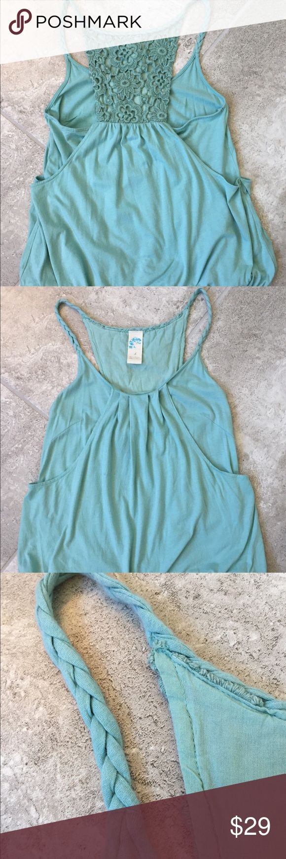Anthropologie Crochet Back tank, SZ S! For sale is a gorgeous tank from Anthropologie! It's a beautiful sea green color and has braided straps, a chrochet back and a blouson waist. Perfect for spring and summer!! In great shape, only worn once! Anthropologie Tops